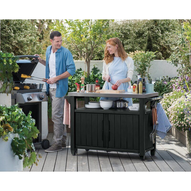 Cambron Caster Bar Serving Cart In 2020 Outdoor Serving Cart Patio Storage Outdoor Kitchen Bars