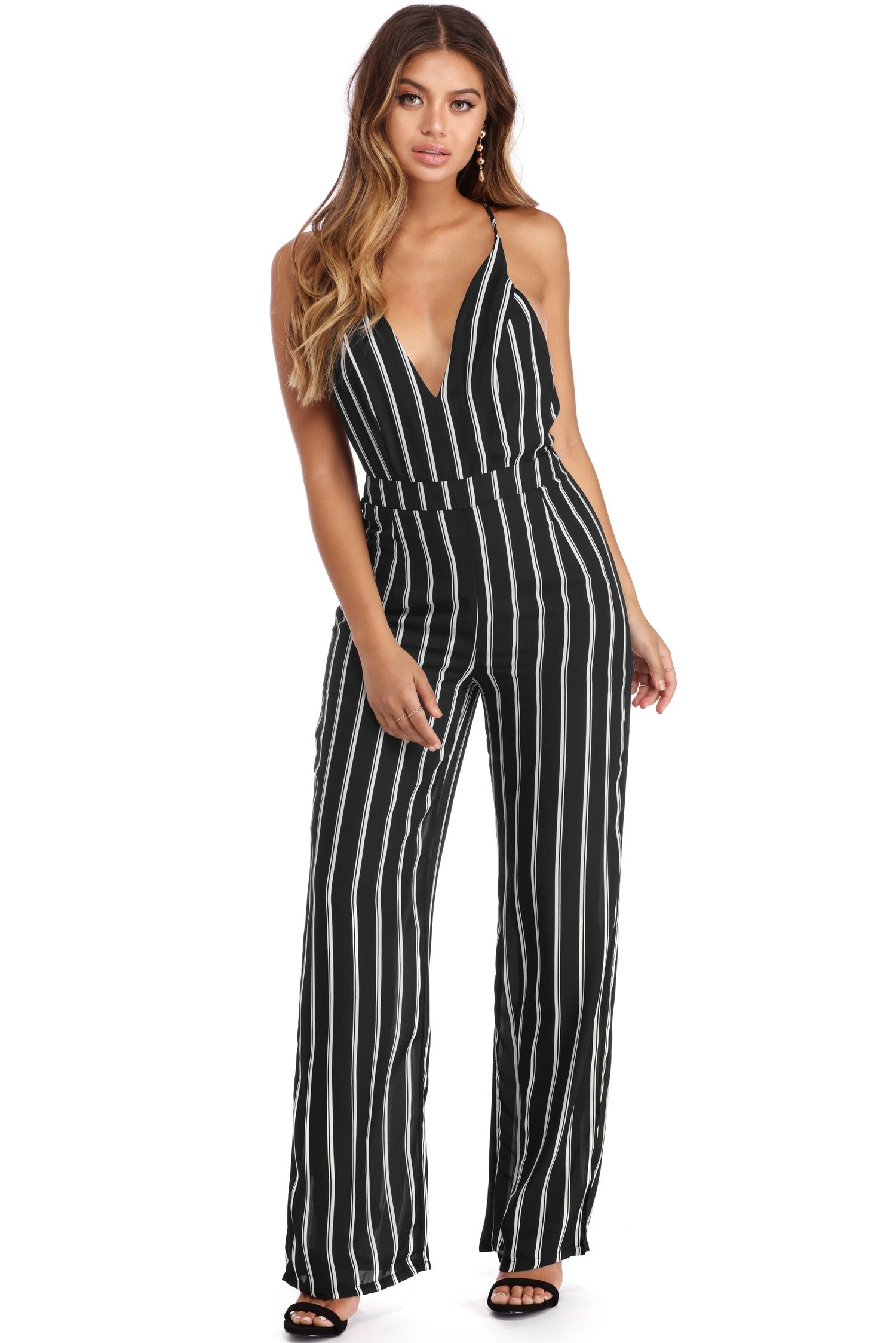 b9c57533584a Black Striped Sophistication Jumpsuit