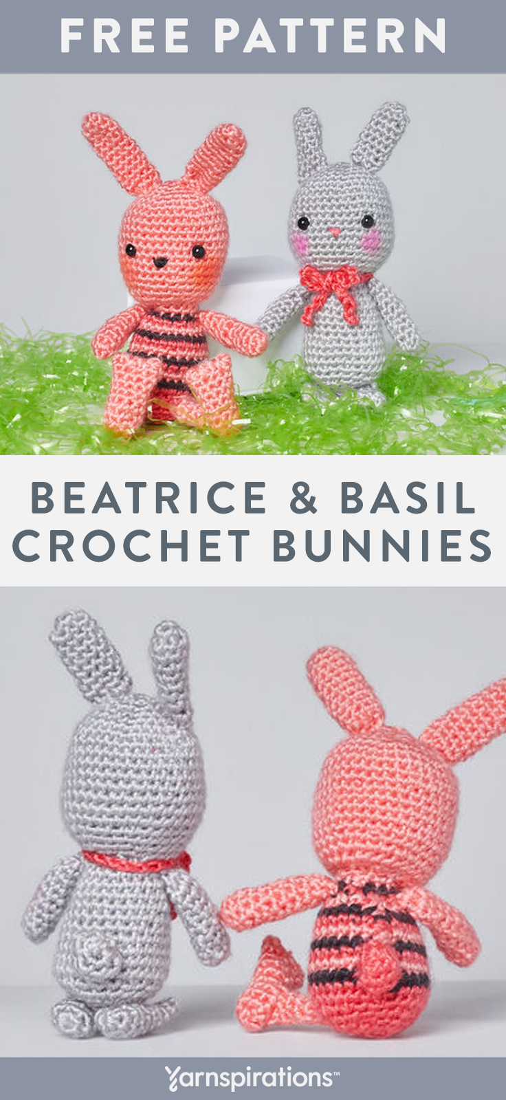 Free Beatrice and Basil Crochet Bunnies pattern using Red