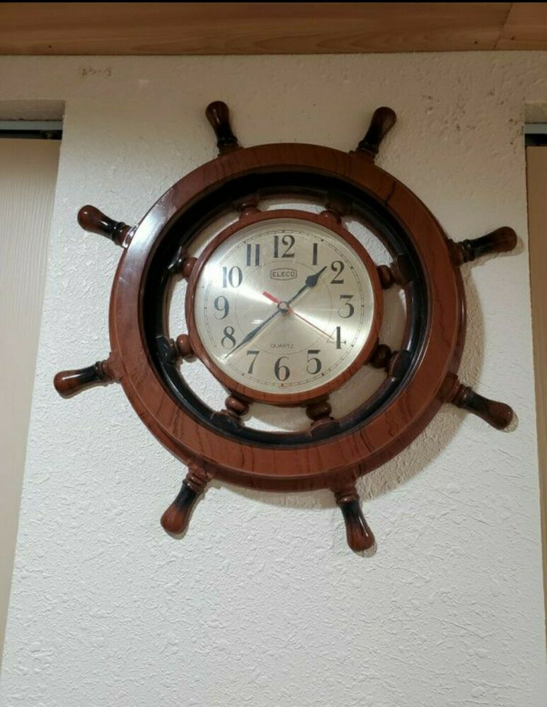 Vintage Eleco Quartz Nautical Ship Wheel Clock Ebay In 2020 Wheel Clock Clock Nautical Clocks