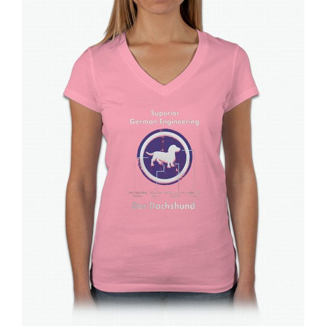 Quality German Engineering Das Dachshund - Doxie T Shirt Womens V-Neck T-Shirt