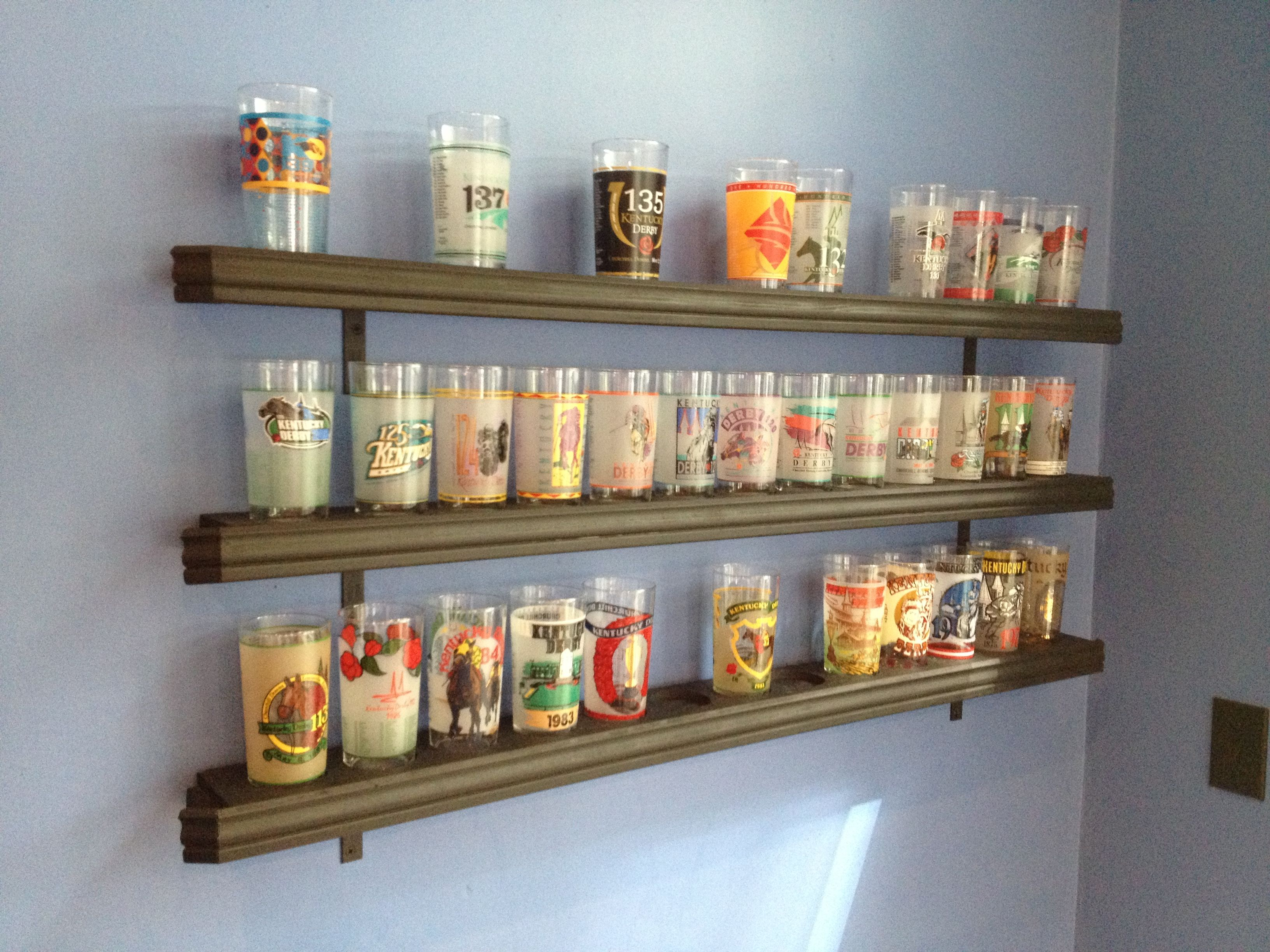 Derby Glass Display Shelves: My boyfriend made these shelves to display  Kentucky Derby glasses he