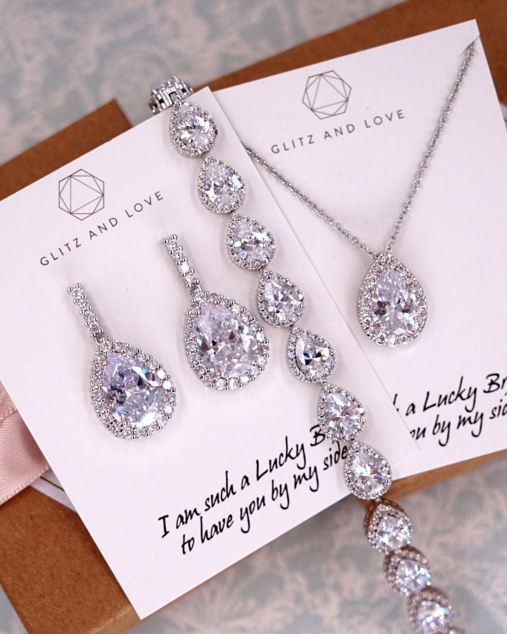 Silver Cubic Zirconia Jewelry Set Earrings Bracelet Necklace