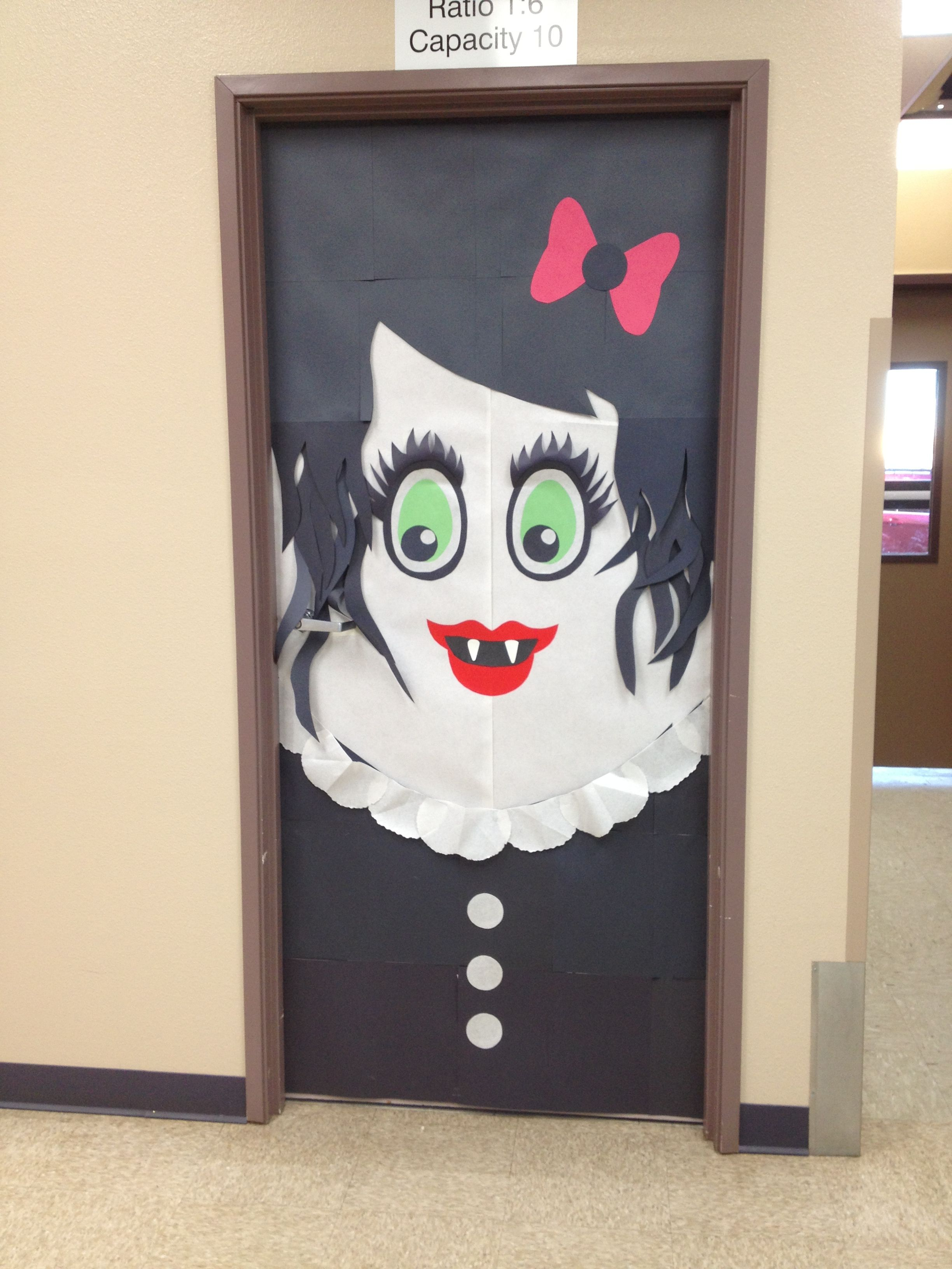 A Halloween inspired female vampire A door a friend and I made - Halloween Door Decorations Ideas