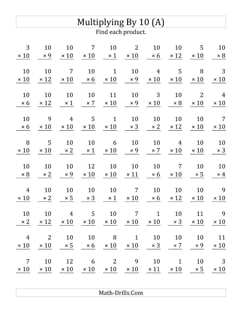 Pictures Multiplication By 10 Worksheets - Studioxcess