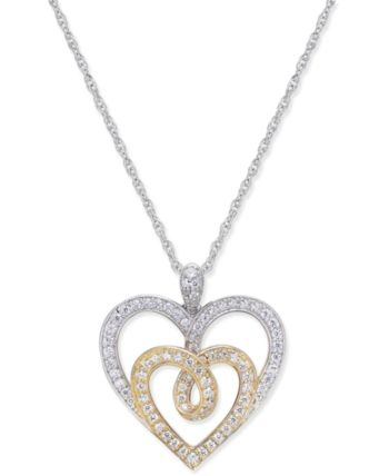 d393e8c3e72 Macy's Diamond Two-Tone Heart Pendant Necklace (1/3 ct. t.w.) in 14k Gold  and White Gold & Reviews - Necklaces - Jewelry & Watches - Macy's