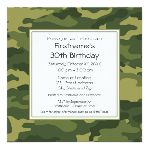 Camo birthday party card military birthday party invitations camo birthday party card bookmarktalkfo Image collections