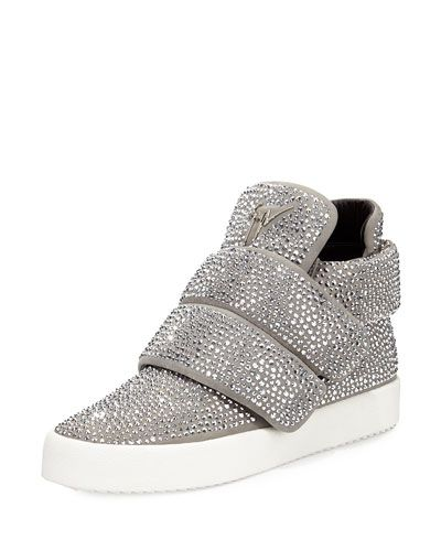 21fb47fedc52b N3C7T Giuseppe Zanotti Men's Crystal-Studded High-Top Sneaker, Gray ...