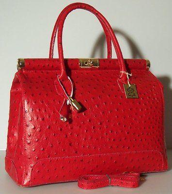 Bnwt Ostrich Embossed Purse Handbag Satchel Tote Bag Red 823 Italian Leather