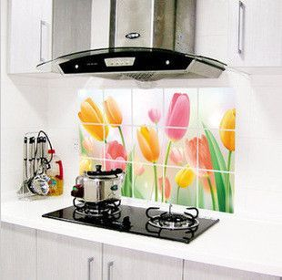 Aluminum Copper Waterproof and Oil-proof Kitchen Wall Sticker Decals
