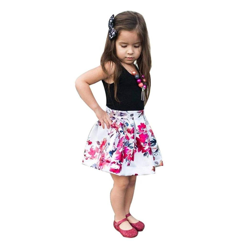 927f8ac54ba1 Sunbona 2pcs Toddler Baby Girls Sleeveless T Shirt Tops Floral Skirt Dress  Summer Princess Casual Party Outfit Clothes