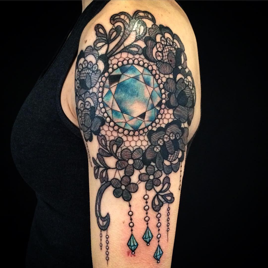 lace and blue jewel tattoo my next tattoo pinterest lace tattoo design lace tattoo and. Black Bedroom Furniture Sets. Home Design Ideas