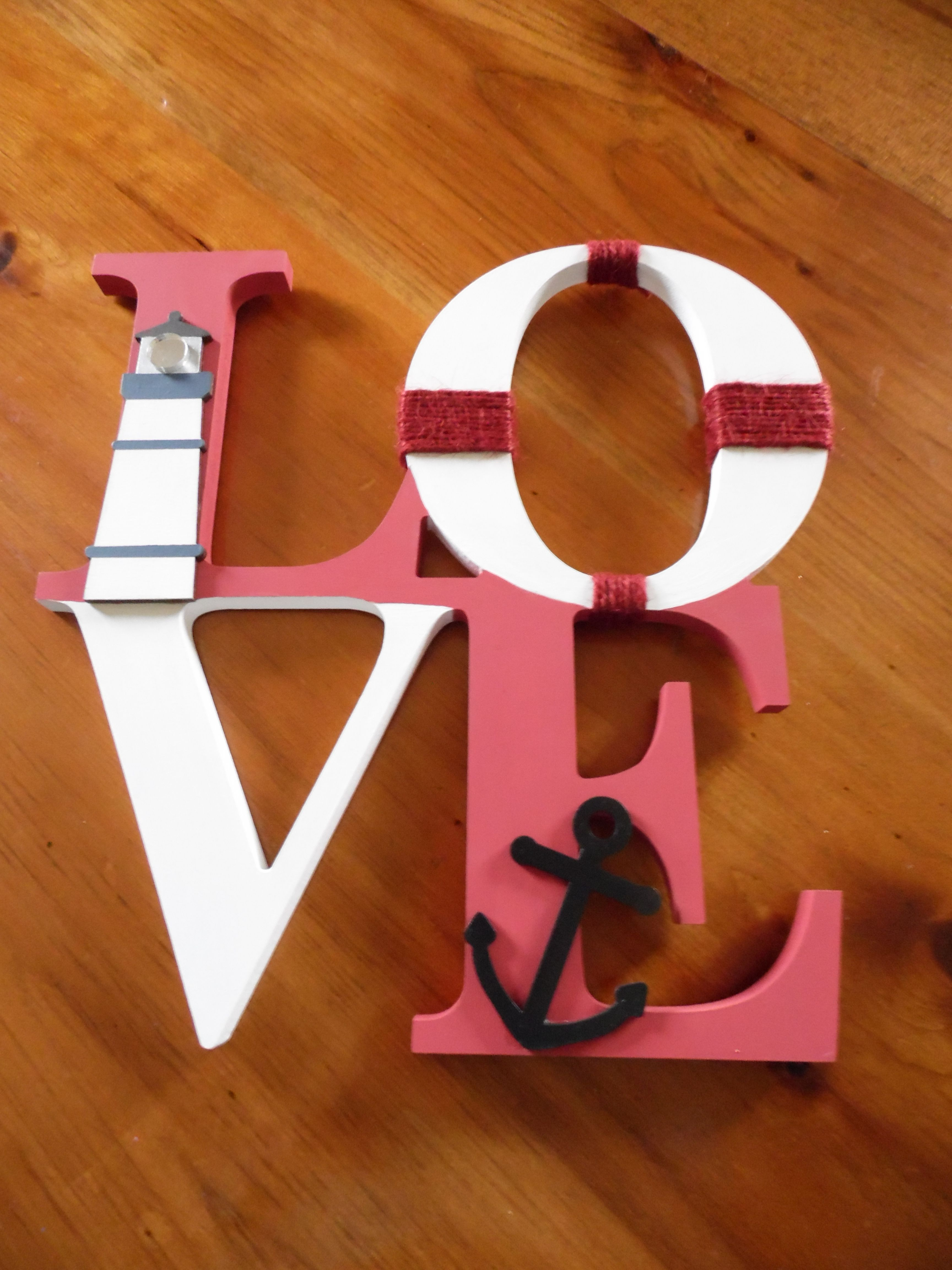 "28cm free standing Nautical LOVE sign. Painted here in Marston & Langinger ""Vatican Red"" but can be custom painted to your colour choice."