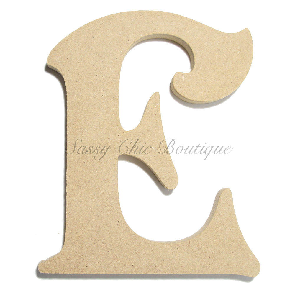 unfinished wooden letter uppercase e victorian font