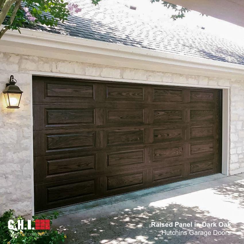 Raised Panel Garage Door In Dark Oak Accents Woodtones In 2020 Garage Door Design Garage Doors Wood Style Garage Doors