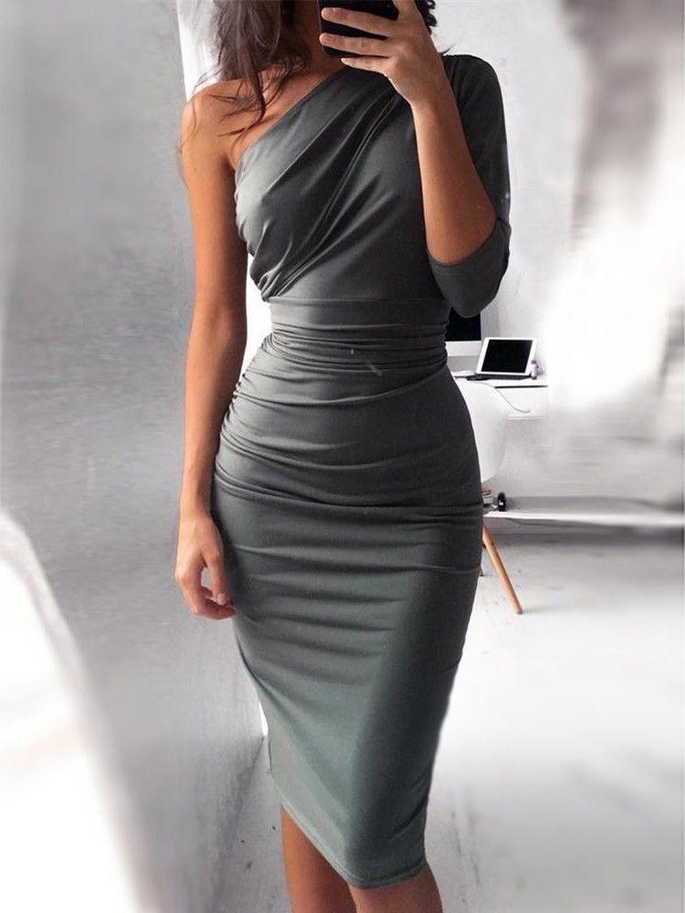 c53471efbc Solid One Shoulder Shirring Self-belted Bodycon Dress