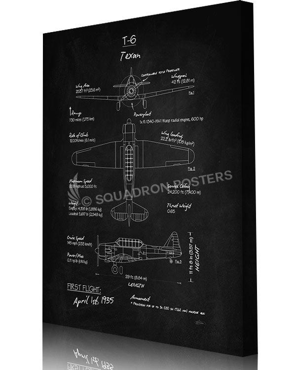 T-6 Texan (North American) Blackboard Art | AVIATION POSTERS