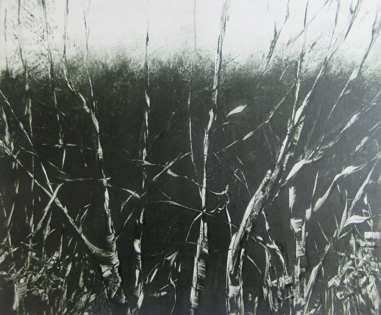 "Original Dark Green Grey Hedgerow Botanical Landscape Monotype Print 10 x 12"" Twilight   OOAK  Fine Art  Print by Zinnia Gallery by ZinniaGallery on Etsy"