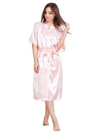 1bf897337ce Plus Size S-XXXL Rayon Bathrobe Womens Kimono Satin Long Robe Sexy Lingerie  Classic Nightgown Sleepwear with Belt