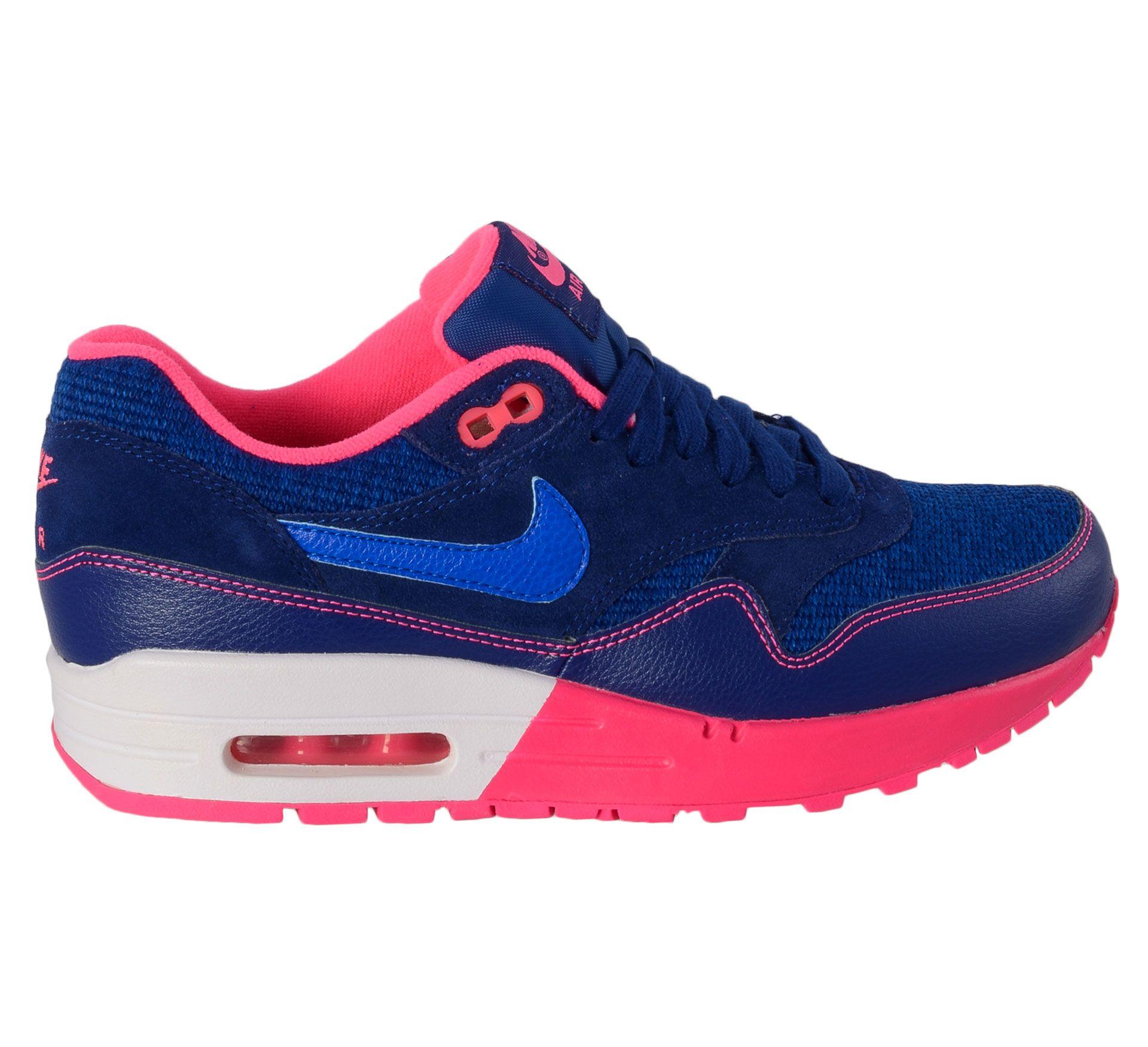 Stoere Nike Air Max 1 Sneakers Dames (blauw – roze) Sneakers van het merk Nike voor Dames . Uitgevoerd in blauw - roze gemaakt van Rubber leer synthetisch materiaal mesh synthetisch materiaal rubber.