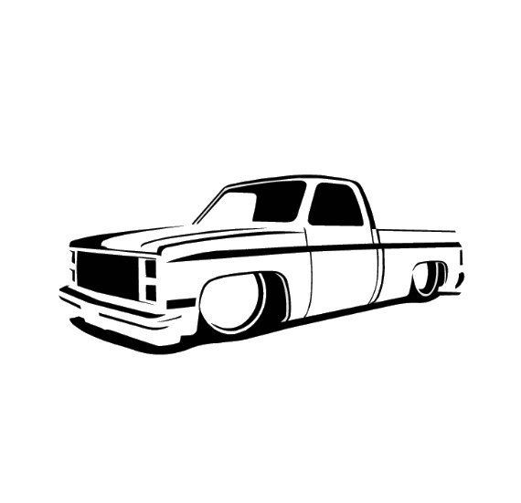 73 87 Chevy Truck Slammed Lowrider Dropped Decal Hot