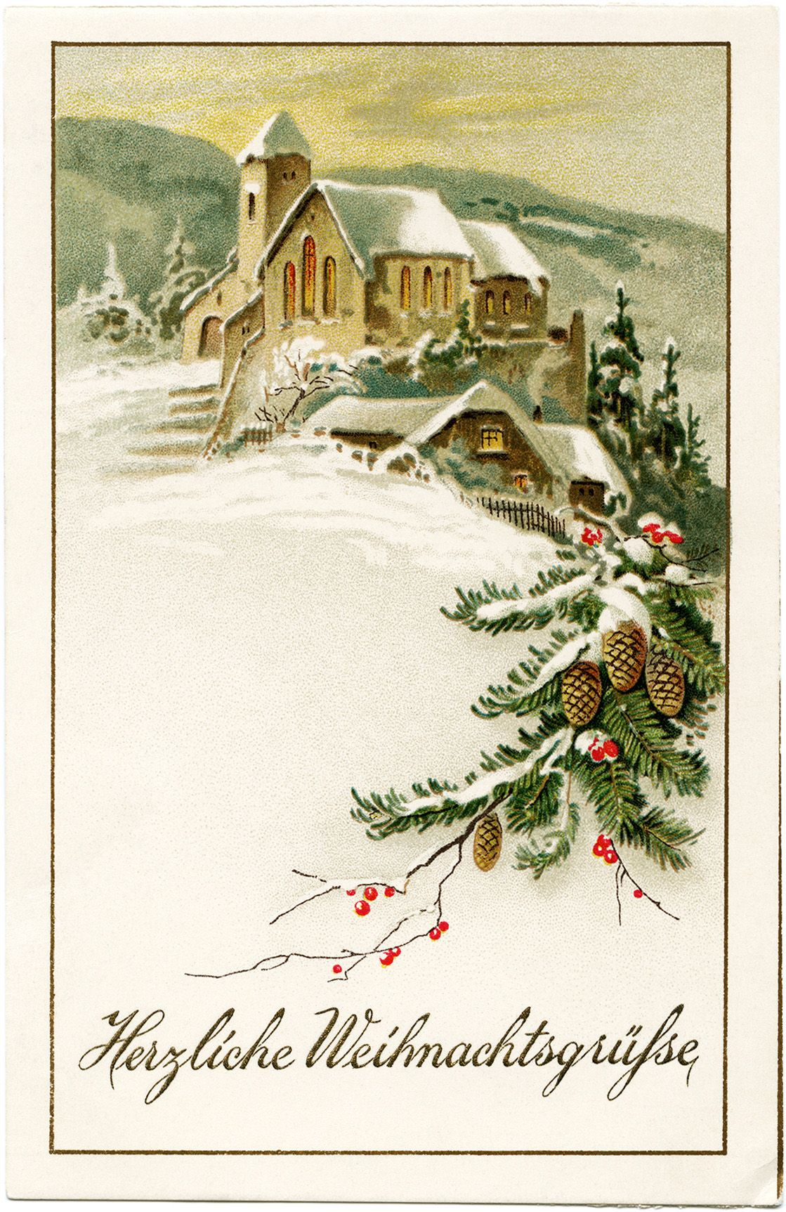 German Christmas postcard, vintage Christmas clip art, snowy winter ...