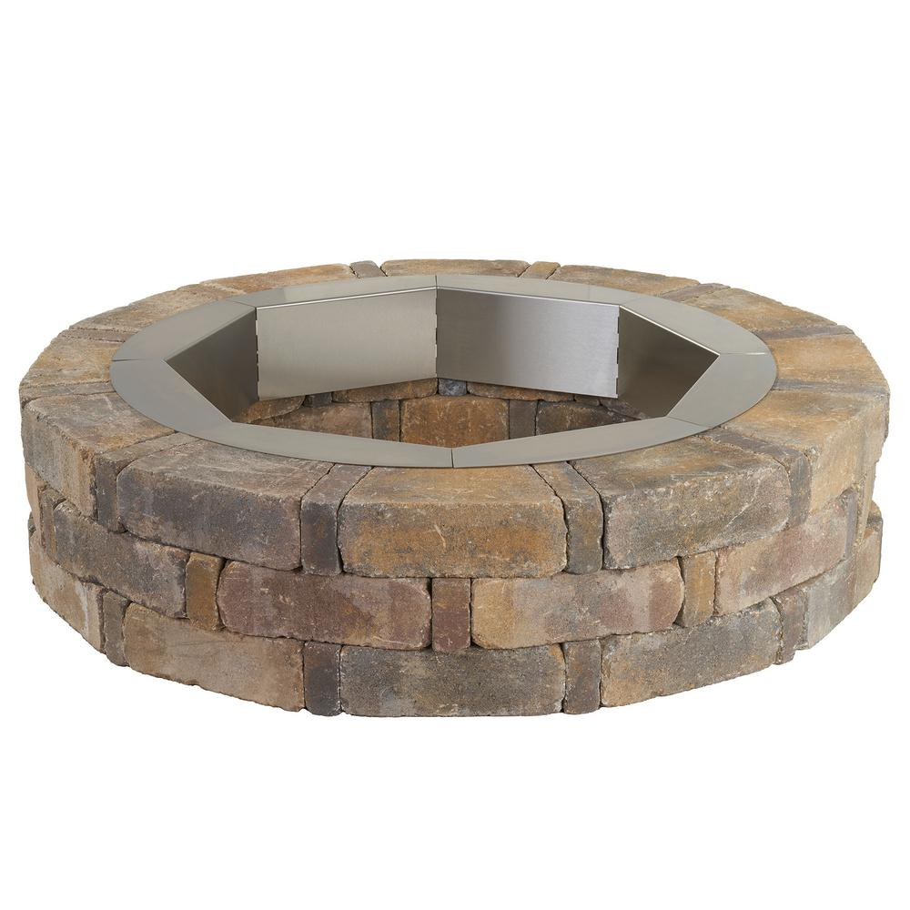 Rumblestone 46 In X 10 5 In Round Concrete Fire Pit Kit No 1 In Sierra Blend With Round Steel Insert Fire Pit Kit Stone Fire Pit Fire Pit