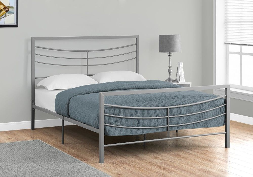 Bed Queen Size Silver Metal Frame Only Monarch Specialties I