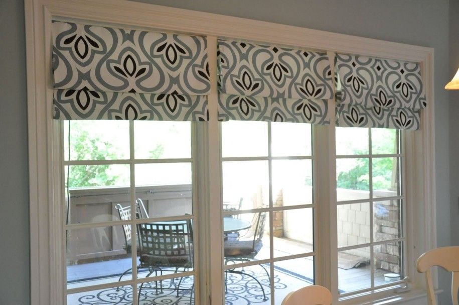 Triple Glass Windows With Shabby Chic Roman Shades Blinds For Dining Room With Grey Paint Color Wa Faux Roman Shades Kitchen Window Treatments Diy Roman Shades