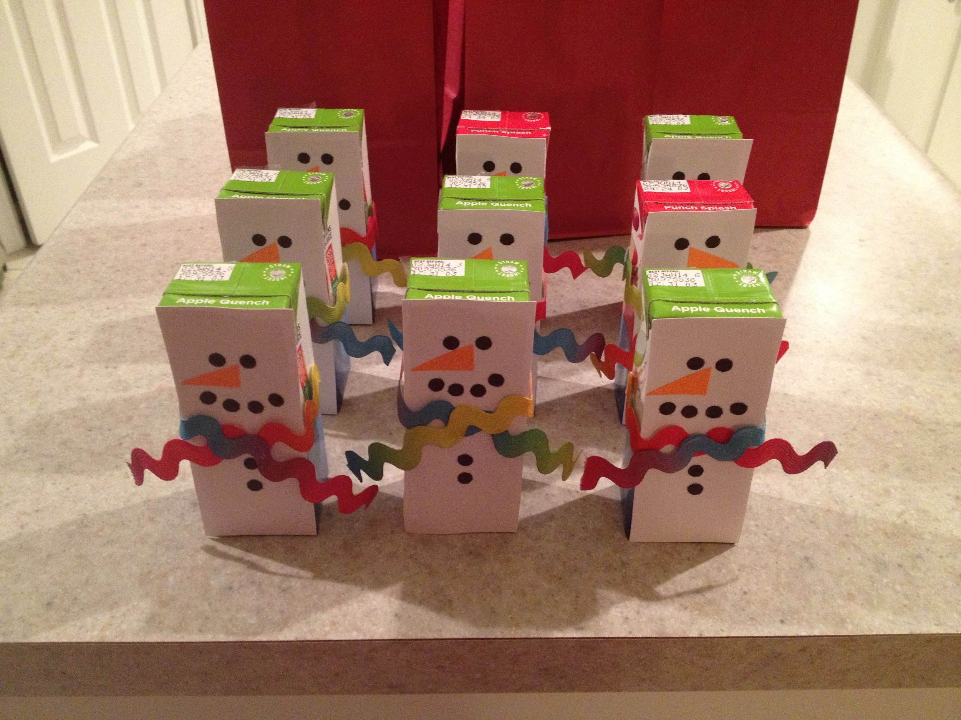 Snowman Juice Boxes))) School Christmas