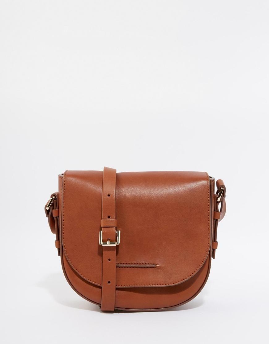 Whistles Leather Saddle Bag In Tan At Asos