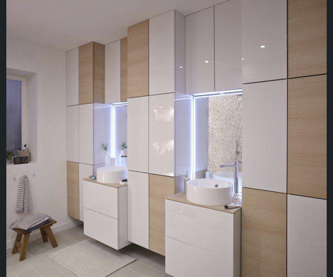 Salle de bains Blanc / Beige / Naturel Bois SENSEA Contemporain ...