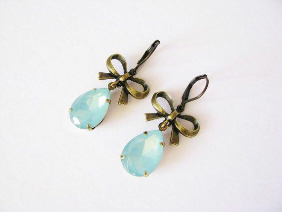 Blue Opal Chandelier Earrings Handmade Dangle Antique Bronze Vintage Style Jewelry Leverback Drop
