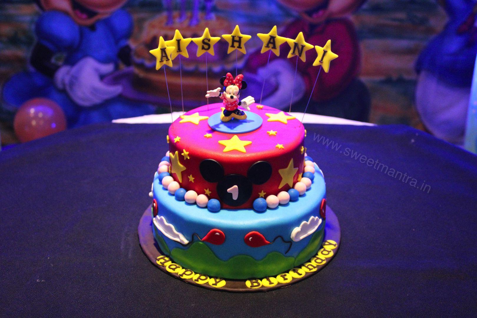 Homemade Eggless 3dcustom 2 Tier Disney Minnie Theme 1st Birthday
