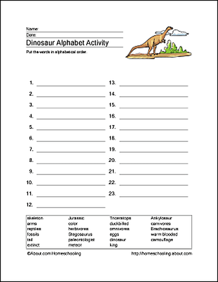 Dinosaur Word Search, Vocabulary, Crossword and More