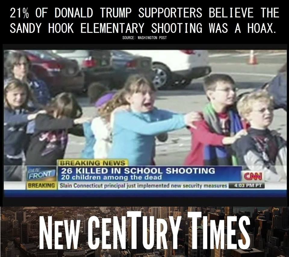 A new poll shared by the Washington Post shows 21% of Donald Trump supporters believe the Sandy Hook massacre that left 20 children dead was a hoax perpetrated by the American government to force gun control measures.  #NeverTrump #FuckTrump