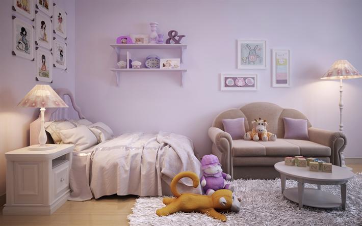 Camere Da Letto Moderne Rosa : Scarica sfondi interno per una camera per bambini design moderno