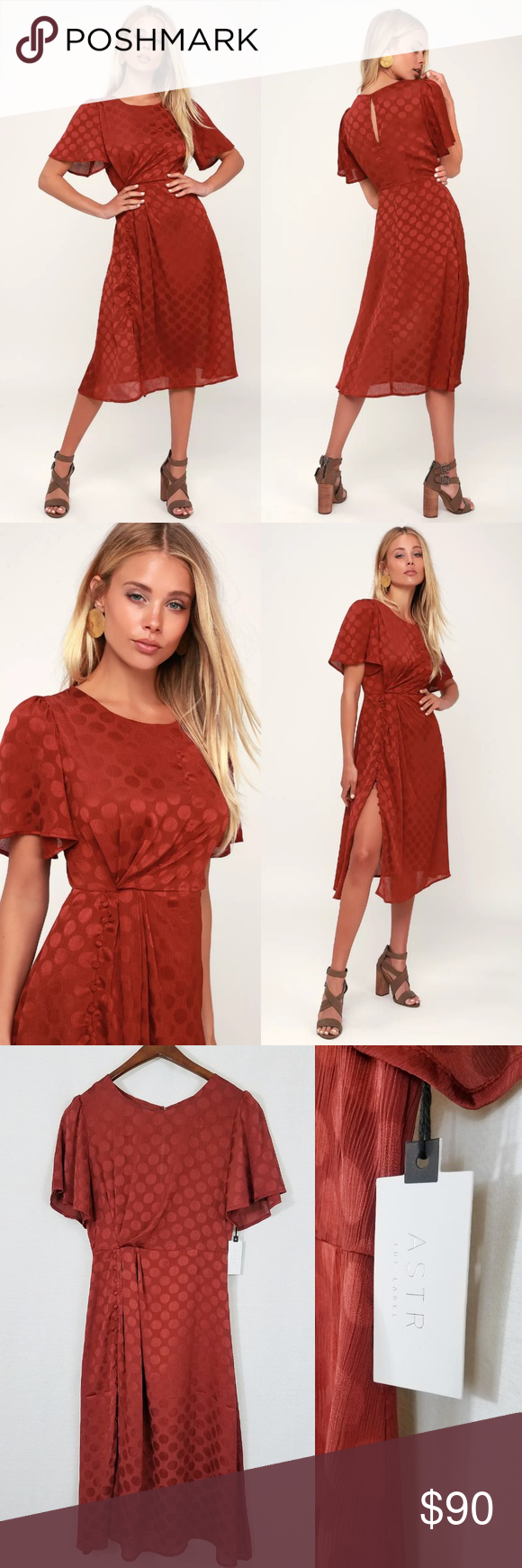 4d95c83161 ASTR Rust Red Button Up Fall Small Womens Midi The ASTR the Label Ebony  Rust Red