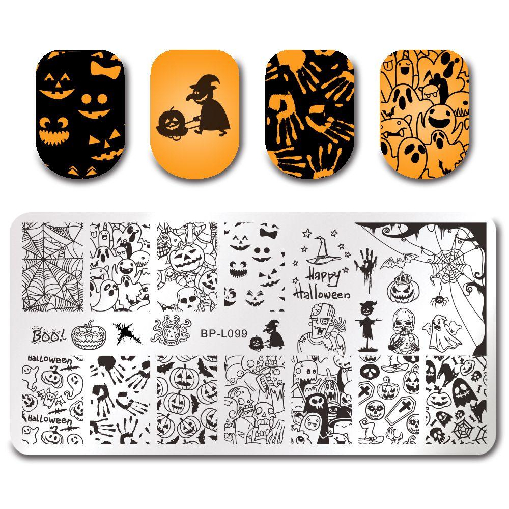 $2.99 BORN PRETTY Stamping Template Rectangle Halloween Pumpkin ...