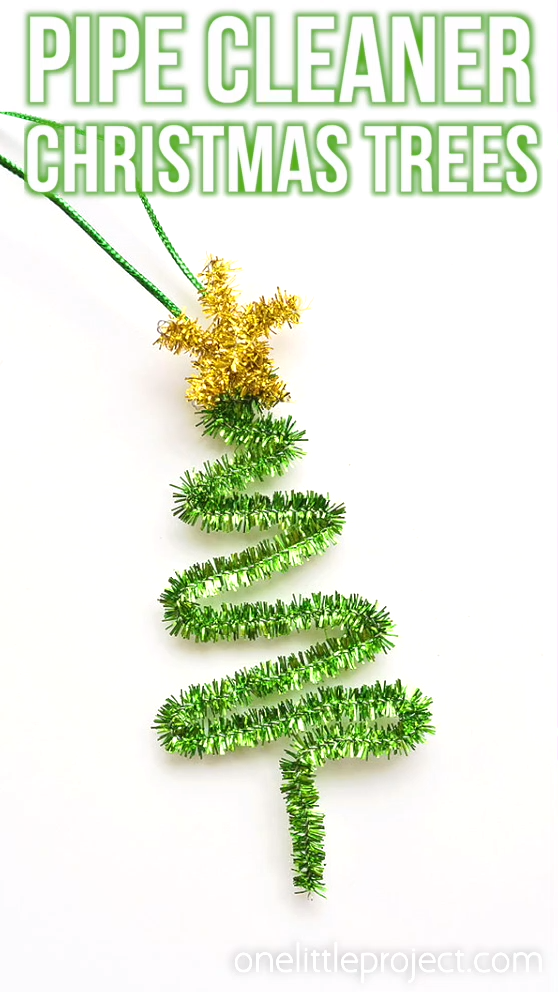 These pipe cleaner tree ornaments are SO CUTE and you only need a few supplies to make them! Such an EASY and FUN holiday project for the whole family!