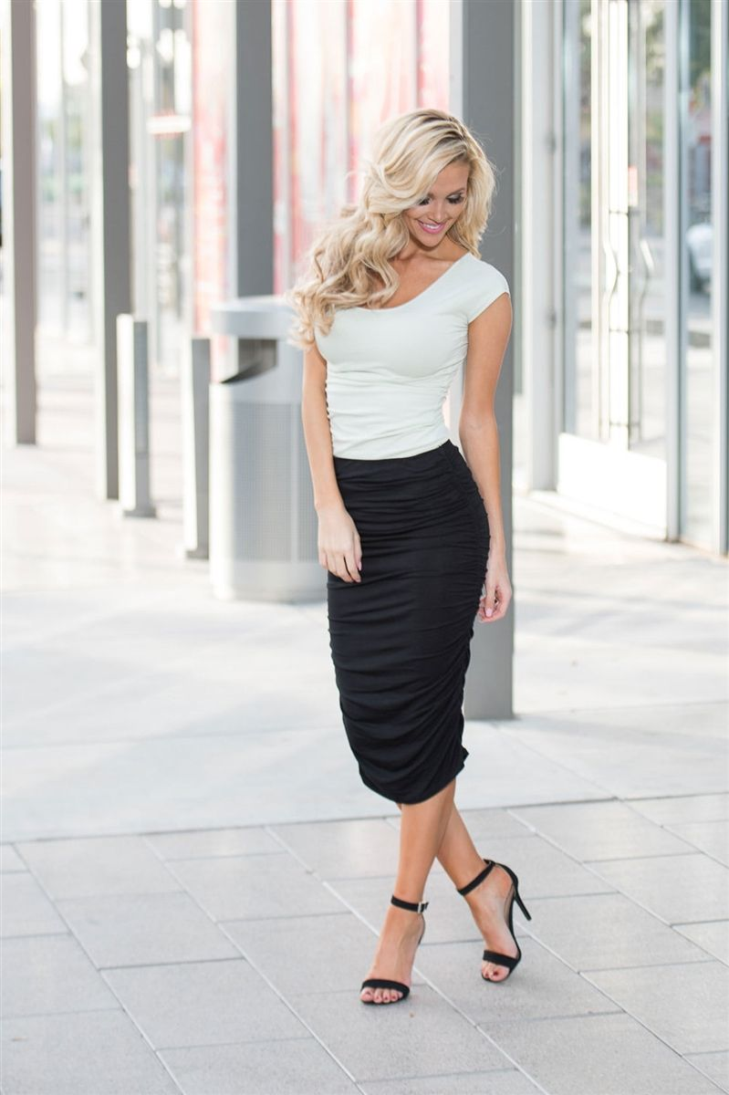 Black Side Ruched Pencil Skirt, best place to buy modest dresses online, best modest dresses, modest dresses for church, bridesmaids dresses with sleeves, modest bridesmaids dresses, modest skirts, modest clothes, best modest online boutique