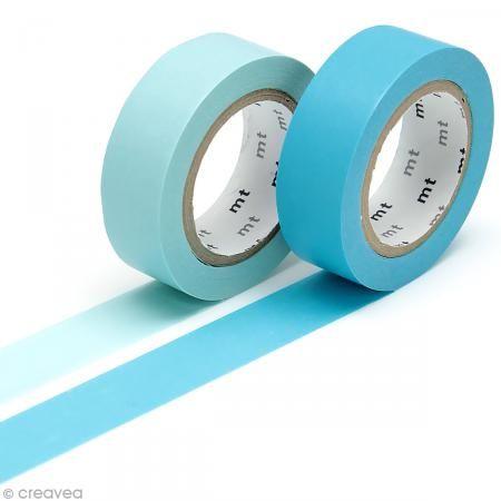 Masking Tape - 2 rouleaux Unis - Bleu ciel et bleu turquoise - 15 mm