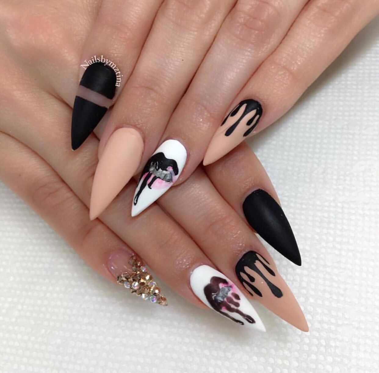 Hand painted Kylie Jenner inspired nails #nailgameonpoint | # Nail ...