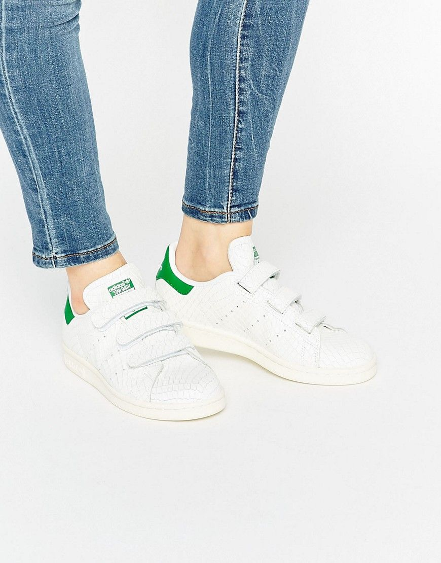 Adidas Originals simil serpiente Blanco Velcro zapatillas Stan Smith