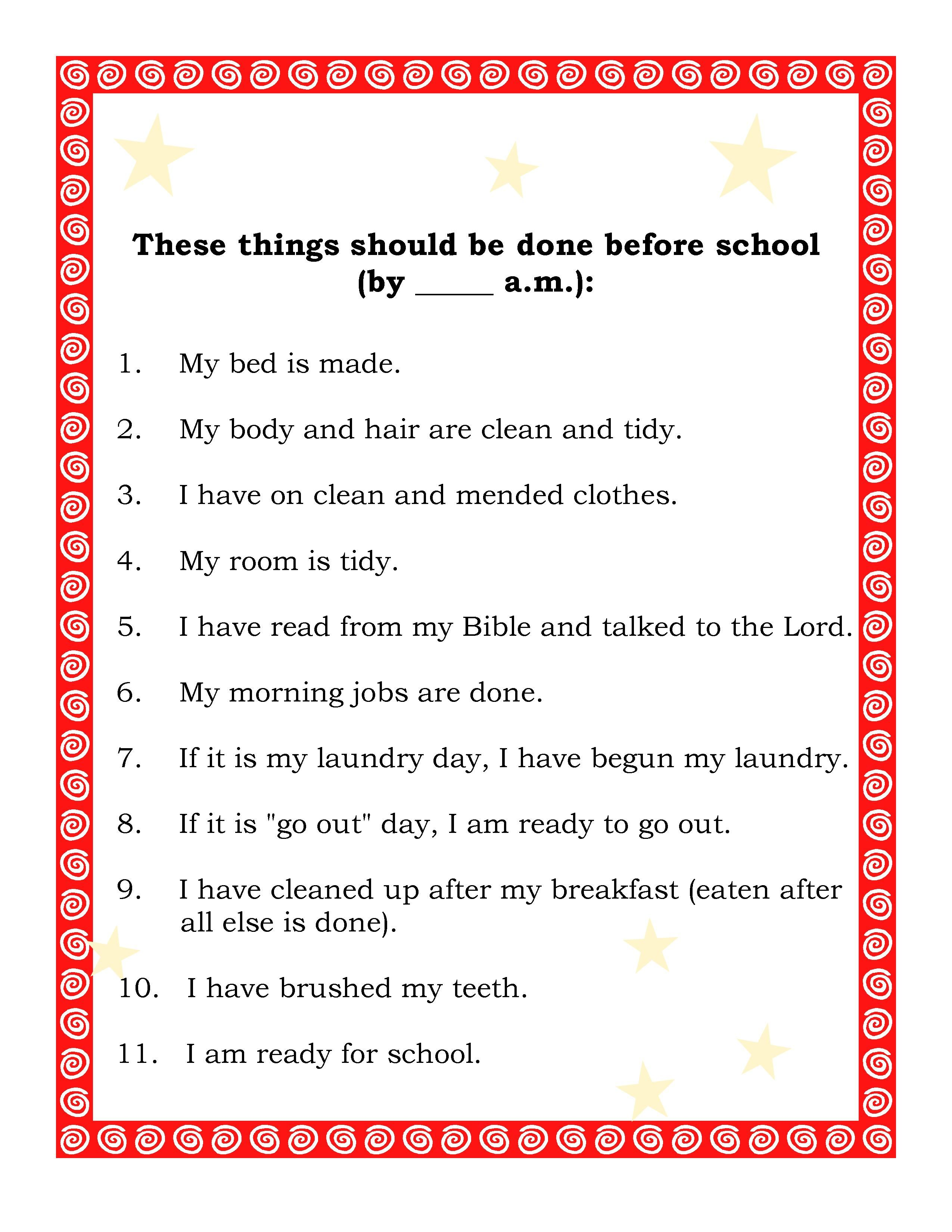 Before School List Everydayhomemaking