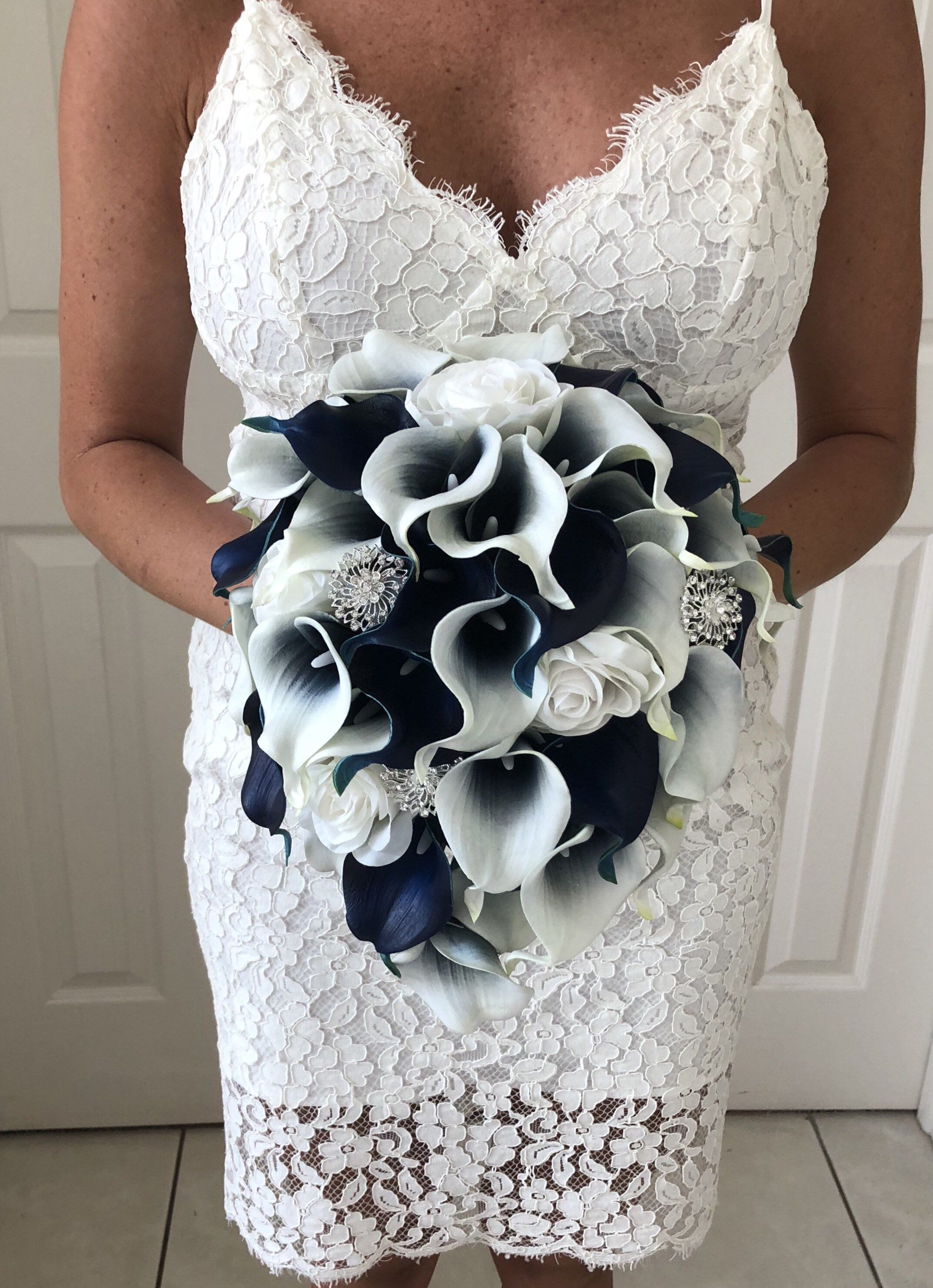 Navy blue calla lily bouquet cascading navy blue bouquet real