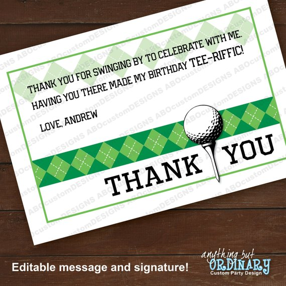 Golf Graduation Partee Thank You Note Green Argyle Flat Editable Golf Thank You Card Instant Download Digital File Thank You Notes Diy Prints Thank You Cards