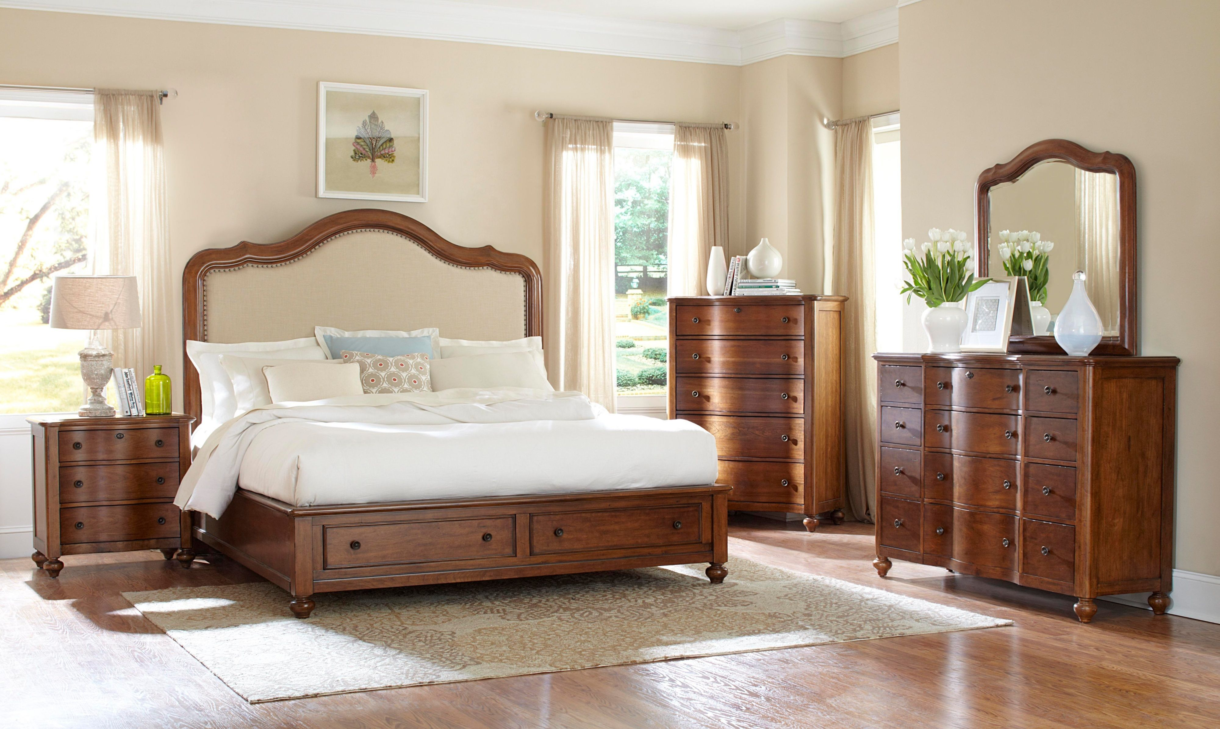 Creswell Burnished Cherry Upholstered Storage Bedroom Collection
