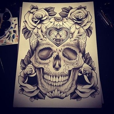 Sugar Skull Rose Thigh Piece Inspiration -- I like the rose framing (possible framing for my thigh piece)