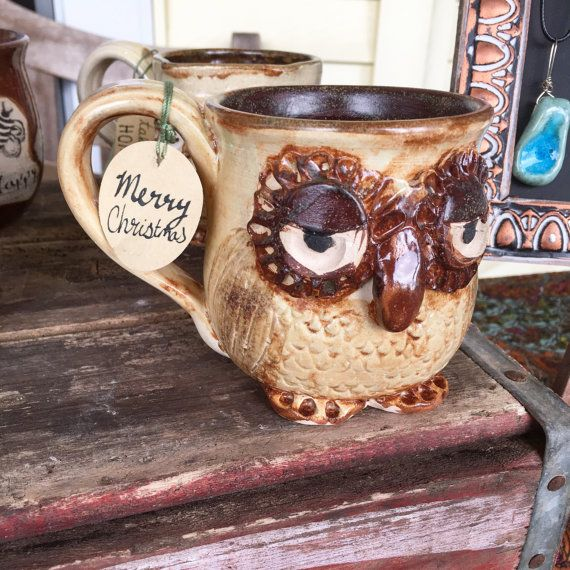 Owl mug for TIFFANY by prancingpigspottery on Etsy